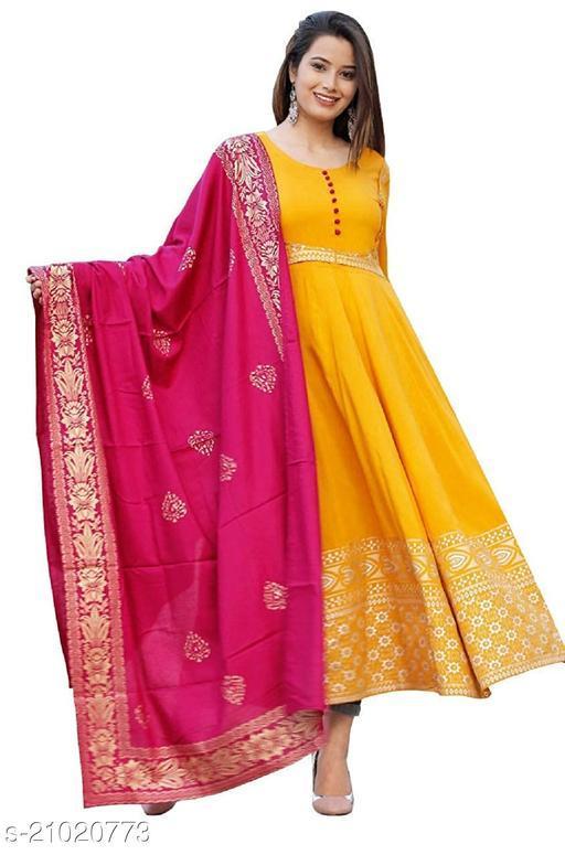 Women's Rayon Fabric Printed Mustard Color Anarkali Kurti with Pink Dupatta