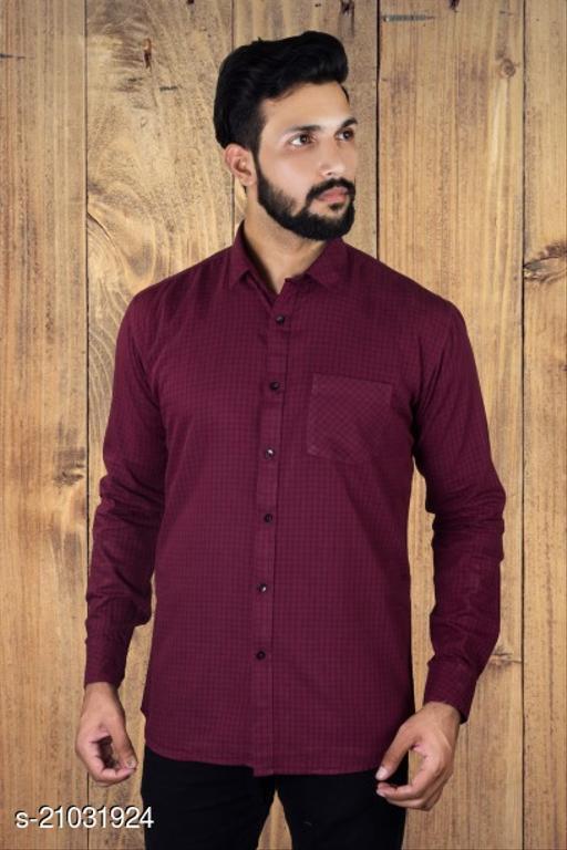 Lazzaro Mens MICRO CHEX Wine Cotton Daily Wear Casual Shirt