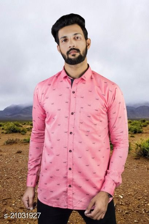 Lazzaro Mens OXFORD PRINT Pink Cotton Daily Wear Casual Shirt