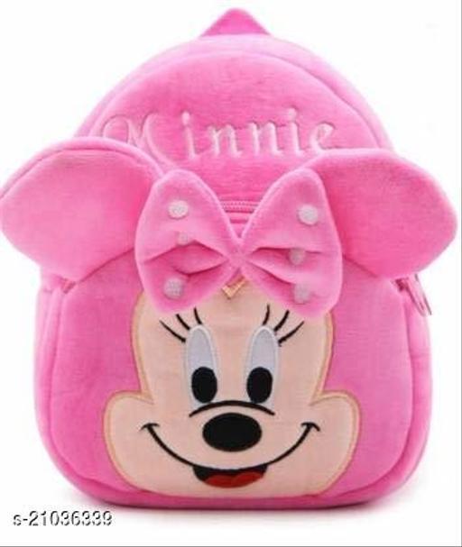 Heaven Decor Minnie Velvet Soft Plus Kidds School Bag Nursury class to 5 ( Size - 14 inch ) (color - Pink )