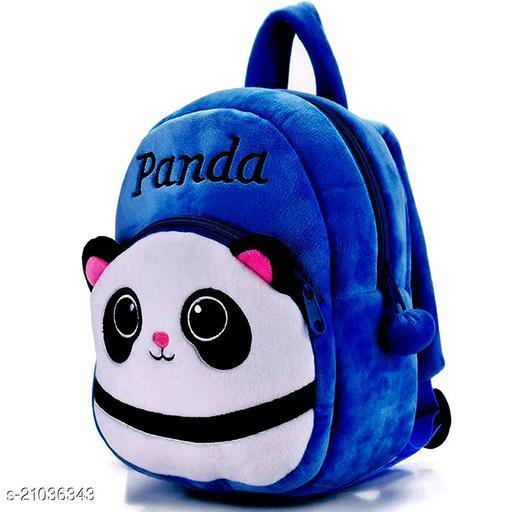 Heaven Decor Panda Velvet Soft Plus Kidds School Bag Nursury class to 5 ( Size - 14 inch ) (color - blue )