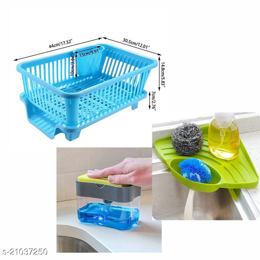 Citymegastore 1 3 in 1 Combo offer Soap dispenser, sink corner3 in 1 Large Durable Sink Plastic Kitchen Dish Rack Utensil Drainer Drying Basket with draining Tray After wash Cutlery Fork Organizer