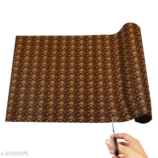 """Anti Skid and Easy Grip Washable PVC Shelf Liner Roll for Cabinets, Kithen Shelves and Drawer (18"""" X 5 mtr, Brown)"""