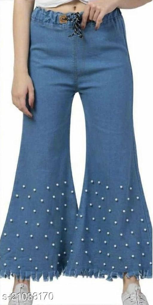 Denim Beaded Plazzo Pants (light blue) (regular fit)