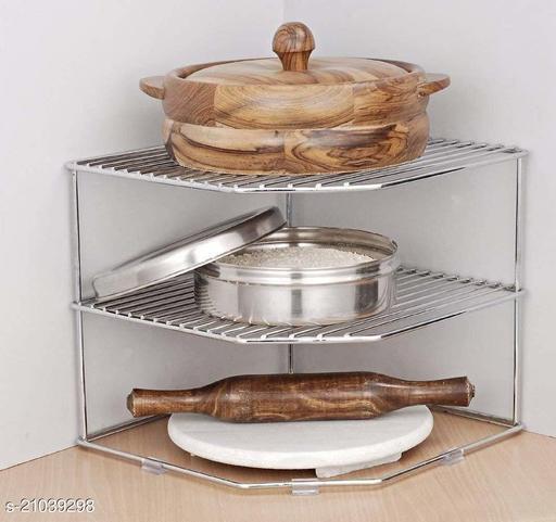 Nexus Stainless Steel Multipurpose Kitchen Corner Shelf Rack Stand/Chakla Belan Storage (30*30 *30 cm)