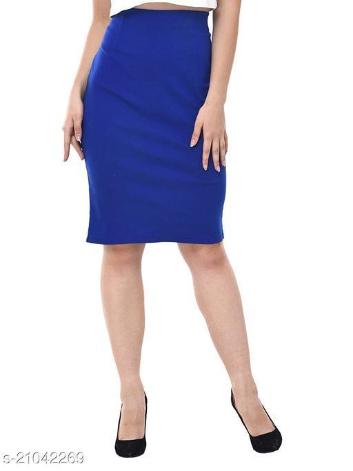 SHAURYA-F Pencil Knee Length Skirt Premium Quality Stretchable Skin Friendly Fabric, Slim Fit Pattern. Blue