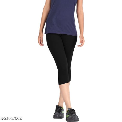 Lets Shine 3/4 cotton stretched Capris Leggings(Free Size Pack of 2) for Girls & Women-(Black & Navy Blue)