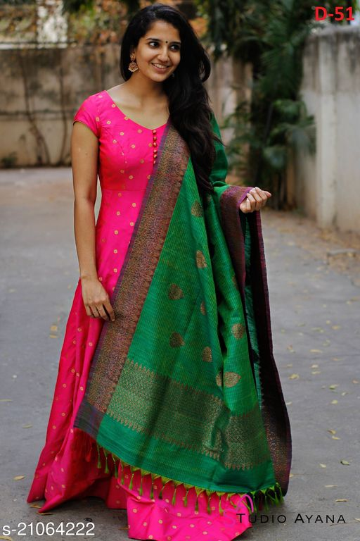 Adorable Pink Colored Festive Wear Woven Tapetta Silk Gown With Jeqard Dupatta