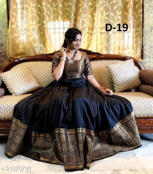Exclusive nack pattern Neavy Blue colored Dull Sattin with Jacquard fabric Ready made Gown