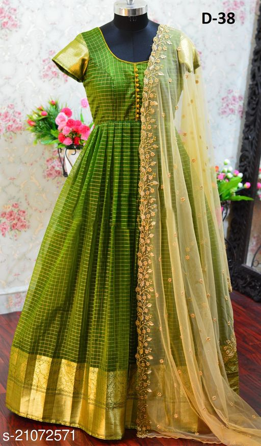 Green Tapeta Silk And Jegard Work Readymade Gown With Embroidery Silk Dupatta