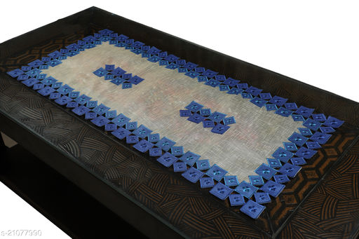 Tissue Cutwork Centre Table Runner (Size-33x15 Inches.)Blue Color.
