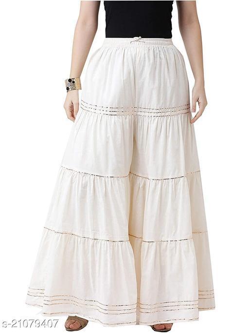Stylish Palazzo For Women- Free Size-Fits All (White)