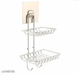 Wall Mounted Double Layer soap Dish Holder & Dispensers, Self-Adhesive Stainless Steel Waterproof Kitchen Bathroom Soaps Storage Rack with Hook for Home