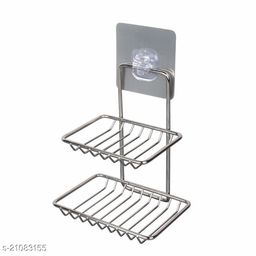 Wall Mount Self-Adhesive Stainless Steel Waterproof Kitchen Bathroom Double-Layer Soap Dish Holder