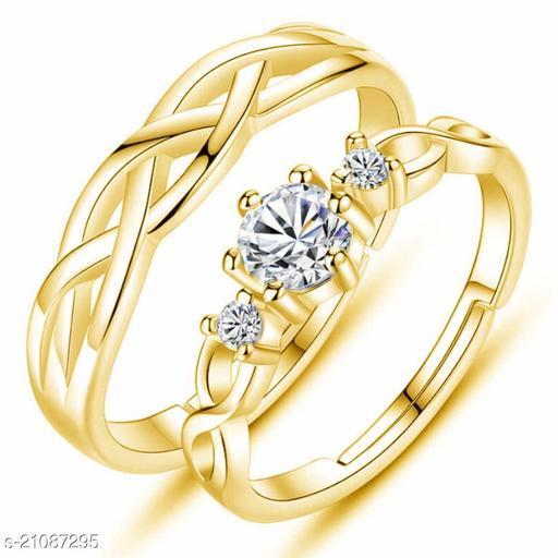 MYKI King & Queen Gold Plated  Zirconia Adjustable Couple Rings