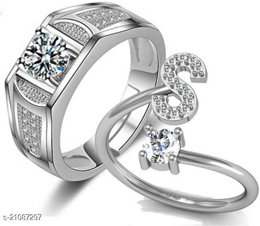 MYKI Stylish Couple Valentine Rings Stainless Steel Swarovski Zirconia  Silver Plated Ring Set