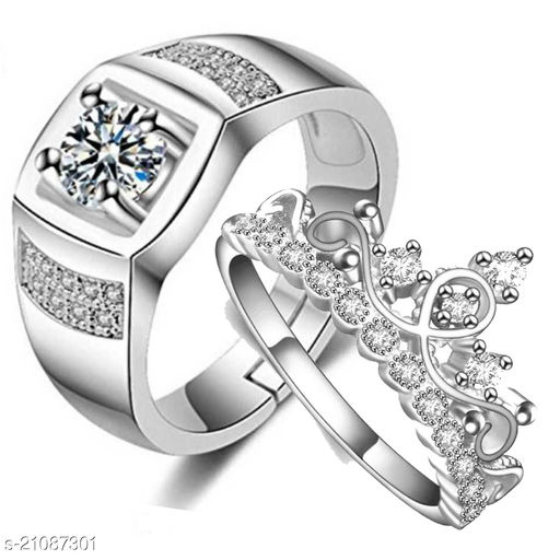 MYKI Gorgeous Valentine Couple Adjustable Rings Stainless Steel Swarovski Zirconia  Silver Plated Ring