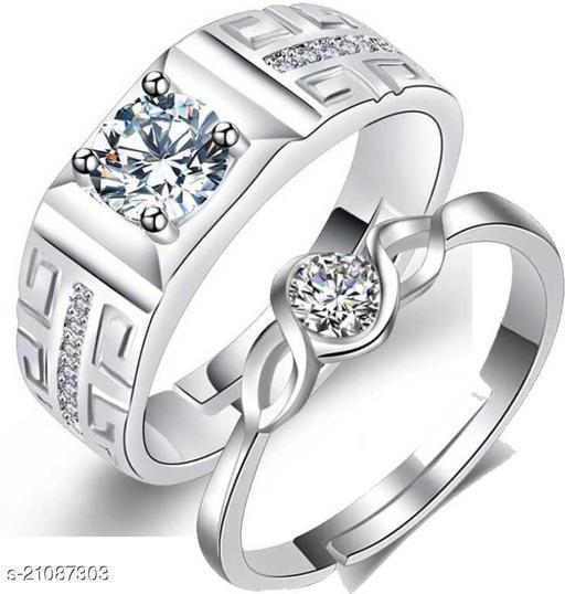 MYKI King & Queen Valentine Adjustable Couple Rings Swarovski Zirconia Ring Set