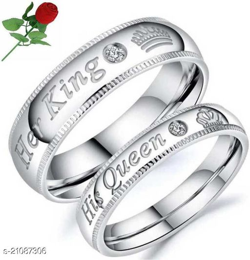 MYKI Her King His Queen Valentine Couple Rings With Stainless Steel Swarovski Zirconia Silver Plated Ring Set