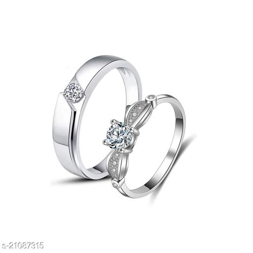 MYKI Love Couples Silver Plated Adjustable Rings