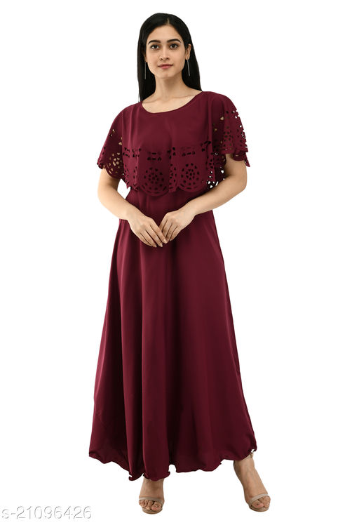 INNA Women's Crepe Maxi Dress/Gown for Women
