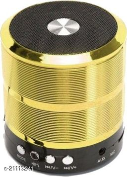 Santop Mini Bluetooth Speaker WS 887 with FM Radio, Memory Card Slot, USB Pen Drive Slot, AUX Input Mode, Compatible with All Devices-Gold