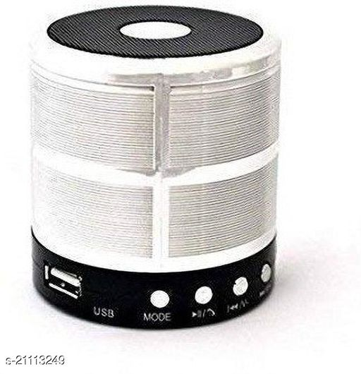 Santop Mini Bluetooth Speaker WS 887 with FM Radio, Memory Card Slot, USB Pen Drive Slot, AUX Input Mode, Compatible with All Devices-Silver