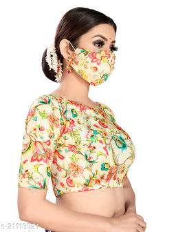 Women's Digital Printed Readymade Blouse With (Complimentary Face Mask)
