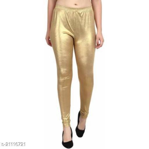 Raiment Polycotton Shimmer Golden Legging For Women