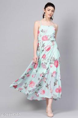 TRENDY CYAN FLORAL PRINTED GEORGETTE MAXI DRESS