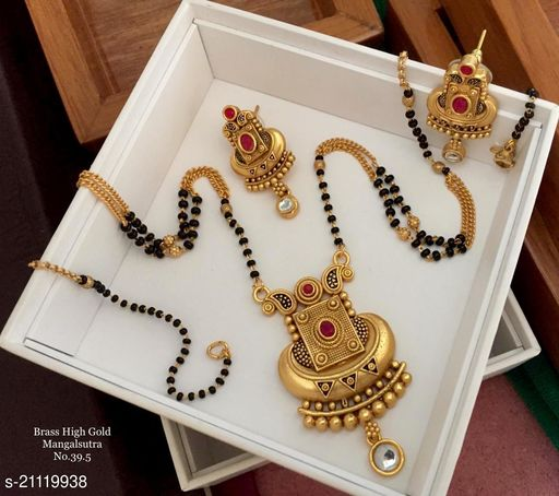 Ethnic Look Mangalsutras for Women with One Pair of Earrings