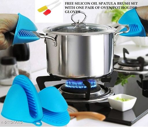 SILICON POT HOLDER GLOVES HEAT RESISTANT OVEN GLOVES-ONE PAIR