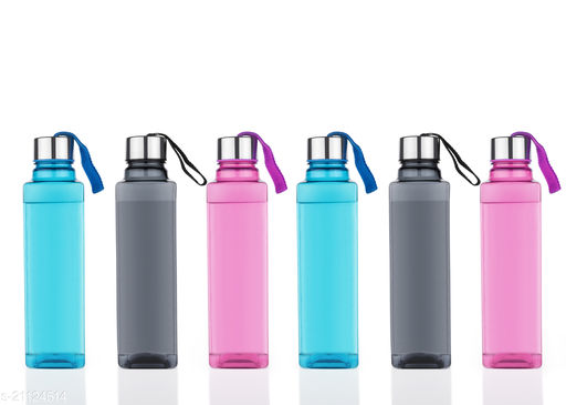 Plastic & Stainless Steel SQURE Shape Designer Water Bottle For School,College,Office 1000 ml Bottle (MULTICOLOR, Pack Of 6)