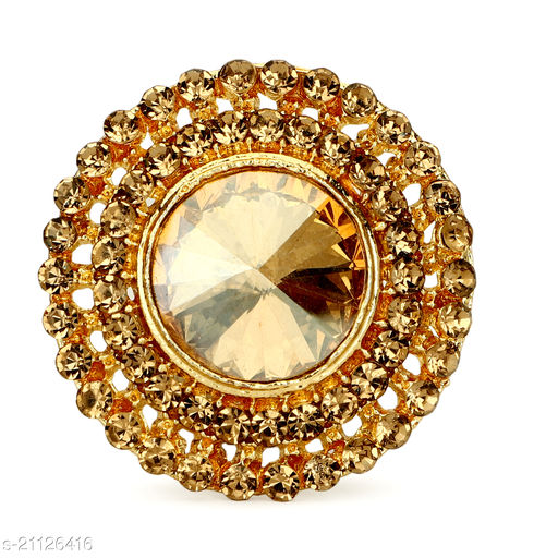 TOLANI'S Traditional look Oxidised Golden Adjustable ring for women