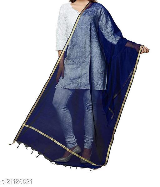 Blue Chanderi Silk Dupatta Plain with Zari Border