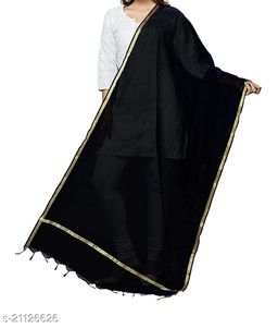 Black Chanderi Silk Dupatta Plain with Zari Border