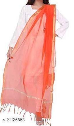 Orange Chanderi Silk Dupatta Plain with Zari Border