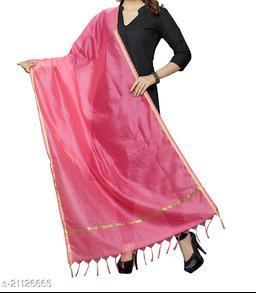 Pink Chanderi Silk Dupatta Plain with Zari Border