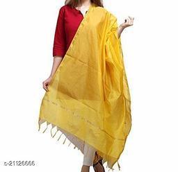 Yellow Chanderi Silk Dupatta Plain with Zari Border