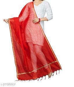 Red Chanderi Silk Dupatta Plain with Zari Border