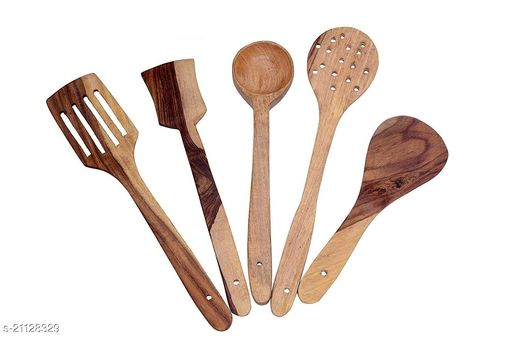 SHAH EMPORIUM Wooden Non-Stick Multipurpose Serving and Cooking Spoon - Set of 5