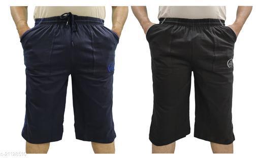 LOVO Men's Cotton 3 4th Pants Capri Pack of 2