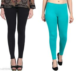 RGS_Women's Slim Fit Leggings(Pack of 2)(Black & Sea Green)