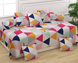 Shree Sai Collection Cotton Diwan Set (Set of 8), Multicolour, Size :- 60 x 90 Inch(Tringle pink)