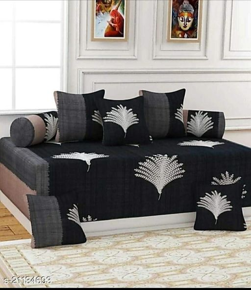 Shree Sai Collection Cotton Diwan Set (Set of 6), Multicolour, Size :- 60 x 90 Inch(Grey)