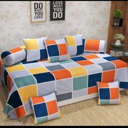 Shree Sai Collection Cotton Diwan Set (Set of 8), Multicolour, Size :- 60 x 90 Inch(Box-Multi)