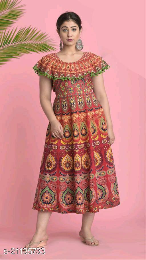 JAIPUR SANGANER PRINT COTTON WOMEN DRESSES