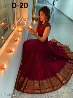 Exclusive Maroon colored Tapeta Silk with Jacquard fabric Ready made Gown