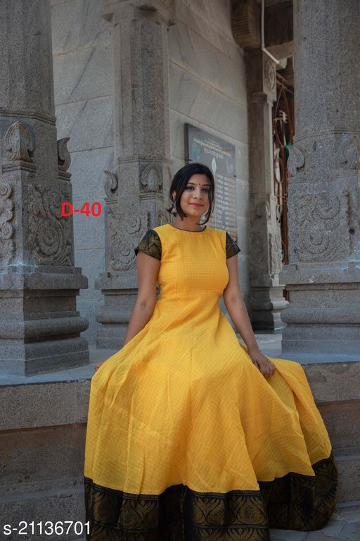 Adorable Yellow black Colored Festive Wear Weaving Jacquard Silk Gown