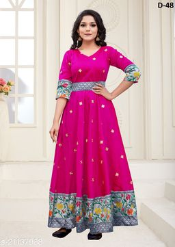 Trendy Rani Colored Partywear Woven Jacquard - Tapetta Gown